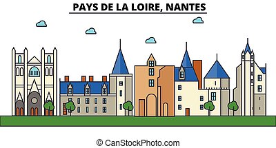 rues, panorama, bâtiments, paye, architecture, strokes., ...