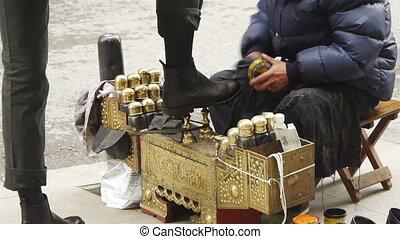 rues, tur, istanbul, shoeshiner