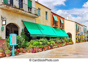 rues, typique, confortable, villes, authentique, catalan, ...