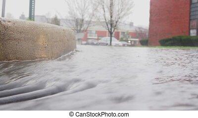 rues, ville, pluvieux, flaques eau, eau, jour, gouttes, ondulation, ruisseaux