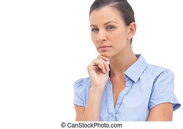 rufa, kobieta interesu, z, ręka na podbródku