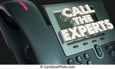 rufen, der, experten, hilfe erhalten, erfahrung, telefon, 3d, abbildung