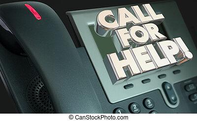 rufen, für, hilfe, servicefachkraft, unterstützung, telefon, 3d, abbildung