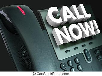 rufen, jetzt, büro- telefon, servicefachkraft, bestellung, werbung
