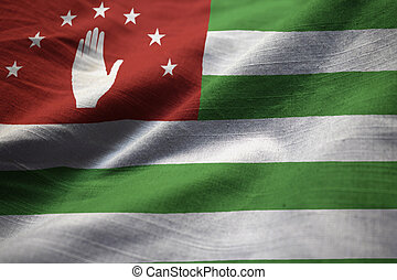 Ruffled Flag of Abkhazia Blowing in Wind