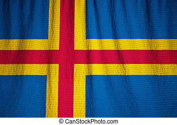 Ruffled Flag of Aland Blowing in Wind