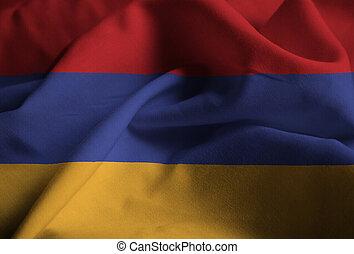 Ruffled Flag of Armenia Blowing in Wind