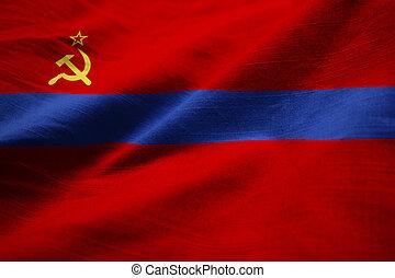 Ruffled Flag of Armenia SSR Blowing in Wind