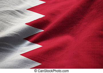 Ruffled Flag of Bahrain Blowing in Wind