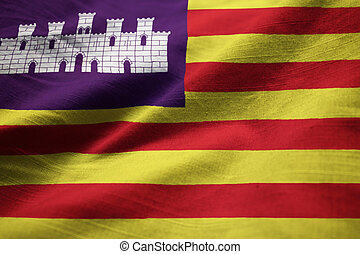Ruffled Flag of Balearic Islands Blowing in Wind