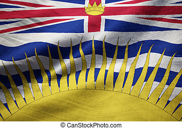Ruffled Flag of British Columbia Blowing in Wind