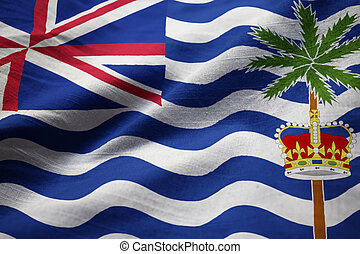 Ruffled Flag of British Indian Ocean Territory Blowing in Wind