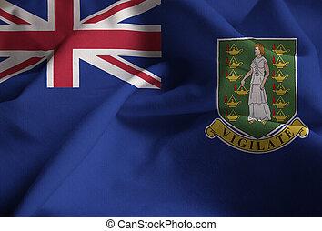 Ruffled Flag of British Virgin Islands Blowing in Wind
