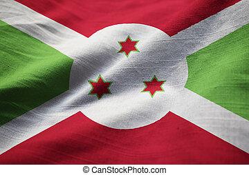 Ruffled Flag of Burundi Blowing in Wind