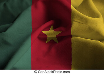 Ruffled Flag of Cameroon Blowing in Wind