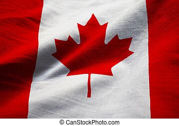 Ruffled Flag of Canada Blowing in Wind