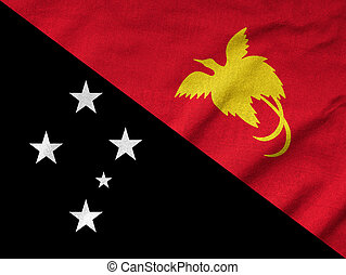 Ruffled Papua New Guinea Flag