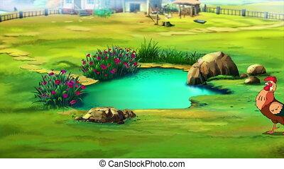 Rufous Rooster near a Pond UHD - Beautiful Rufous Cartoon...