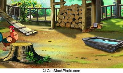 Rufous Rooster on the Farm UHD - Beautiful Rufous Cartoon...