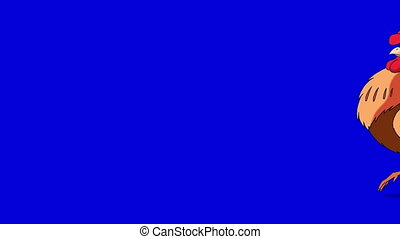 Rufous Rooster Walks and Crows. Classic handmade Animation Isolated on Blue Screen