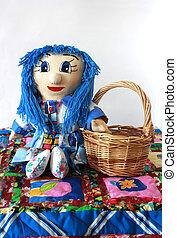 rug., labor de retazos, cesta, colcha, muñeca