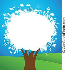 rug te onderrichten, -, boompje, met, opleiding, iconen