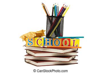 rug te onderrichten, concept, met, boekjes , en, potloden