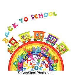 rug te onderrichten, concept, met, spotprent, trein, op, ranbow, en, gekleurde, brieven