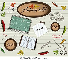 rug te onderrichten, en, herfst, verkoop, poster.
