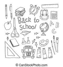 set school back school bord potloden lijm tekenen