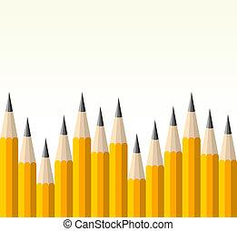 rug te onderrichten, geel potlood, model