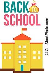 rug te onderrichten, poster, met, gele, schoolhouse