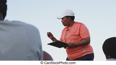rugby, équipe, entraîneur, femme, formation