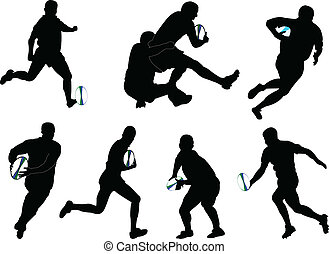rugby 2 - vector - illustration of rugby players in action -...