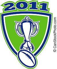 rugby, 2011, tasse, balle, bouclier
