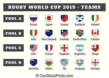Rugby 2019. All pools and flag of rugby tournament in Japan