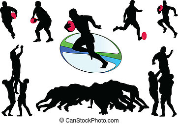 rugby 3 - vector - illustration of rugby players in action...