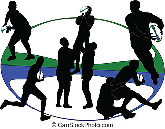 rugby 3 - vector - illustration of rugby players - vector