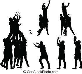 rugby, 3, wektor, -, zbiór