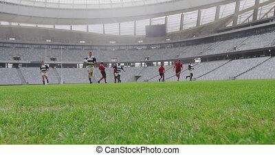 rugby, allumette, stade, 4k, jouer, joueurs