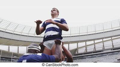 rugby, allumette, stade, mâle, 4k, jouer, joueurs