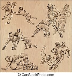 RUGBY - An hand drawn vector collection. Line art pack of some sportmen.