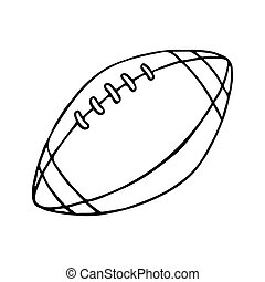 Rugby and American football ball. Outlined
