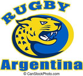 Rugby Argentina Jaguar Mascot head - Illustration of a big...