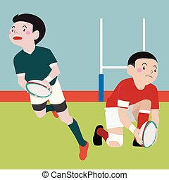 Rugby athletic sport vector cartoon illustration set