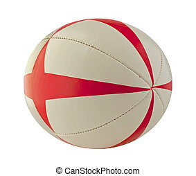 Rugby ball - A white and red rugby ball over white