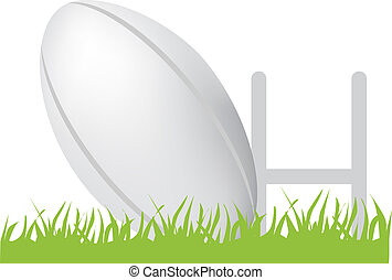 rugby ball and posts - simple icon style illustration of...