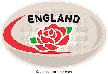 Rugby Ball England English Rose - illustration of a rugby...
