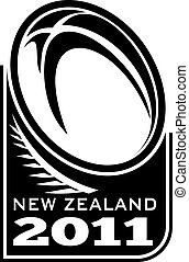 rugby ball fern new zealand 2011 - illustration of a rugby...