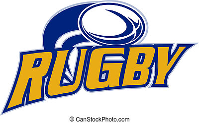 rugby ball flying on white - illustration of a rugby ball...